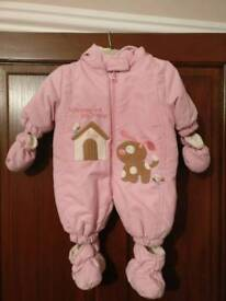 Baby girls padded snowsuit 0-2 months