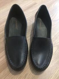 Black Soft Leather Ladies Woman Pediconfort Slip On Shoes Size 8