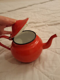 vintage enamel tea pot red