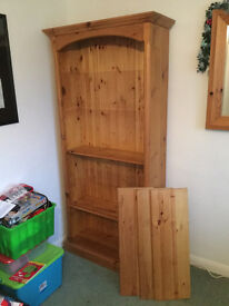 """Farmhouse Pine Book case - 6'6"""" tall 5 shelves - Solid pine in good condition."""