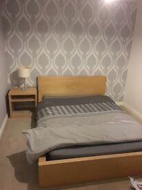 IKEA malm double bed with mattress and bedside table