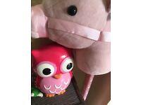 Owl money box and hobby unicorn