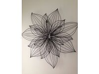 Large Black Flower 3d Metal Wall Art