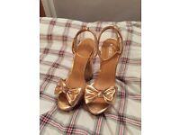 New Ladies Asos Rose Gold Platform 6 inch Heels, Size 5