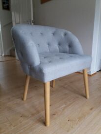 Grey armchair / cocktail chair - brand new condition, stylish & comfy