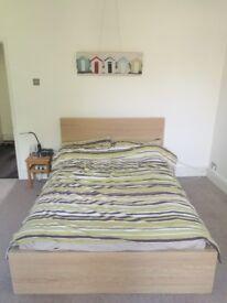 Ikea Malm Double Bed. Beech finish.