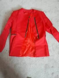 Women zipper blazer suit Red