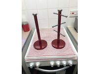 Red Russel Hobbs Kitchen roll holder and mug tree