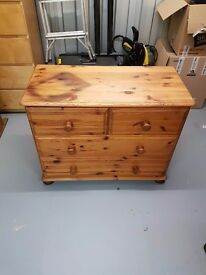 Solid Pine Chest of Drawers (Stained, will require sanding)