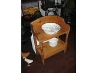 pine washstand with ceramic bowl and potty