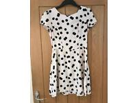 Topshop Black and Cream Polka Dot Dress (Size 10)
