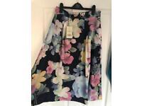Monsoon floral silk A line skirt
