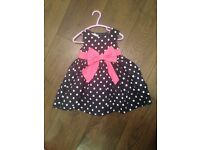 Girls navy and white polka dot dress 12-18 months