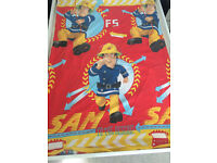 FIREMAN SAM duvet cover, pillowcase and red fitted sheet.