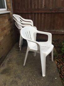 Four garden chairs, white