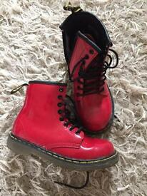 Girls red Dr Martens Delaney boots children's size 10