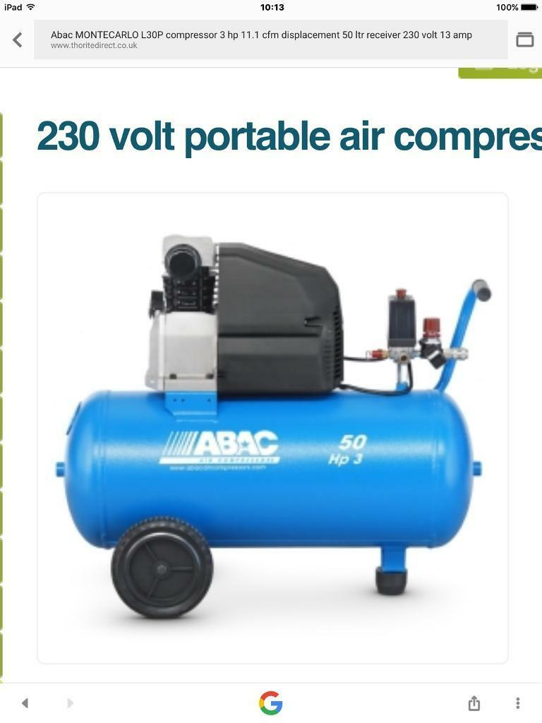 ABAC 50 ltr air compressorin Inverurie, AberdeenshireGumtree - ABAC 50 ltr air compressor . Excellent 3.hp compressor probably the best on the market Runs perfect starts And stops as it should only reason its for sale is I need a bigger one.Cost over £300 new . (Not a cheap Chinese import). £100 Ono