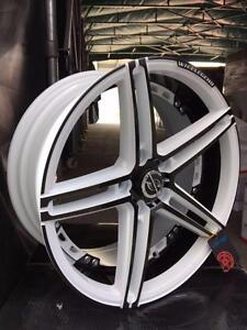 NEW!! 18 inch PEARL WHITE AND METALLIC BLACK WHEELS and TIRES!! ---- CUSTOM COLOR!!  - 173