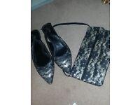 Blk lace shoes&bag