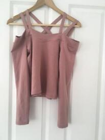 Miss Selfridges UK 10 pink long sleeved top