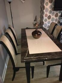 PRATTS SOLID MARBLE DINING TABLE 6 CHAIRS AND CONSOLE UNIT £650ovno