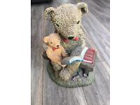 """Teddy Bears Reading on a Bench aprox 12"""" tall"""