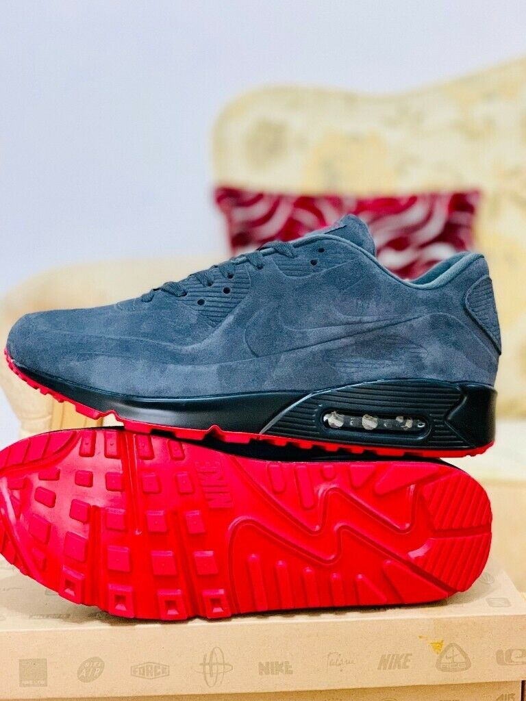 official photos 22615 daaf7 nike air max 90 grey and red suede black hyperfuse all sizes inc delivery  paypal Red Sole xx