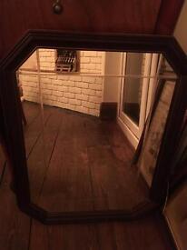 Old solid wood framed mirror