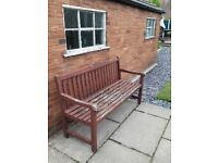 Solid Wood Large Garden Painted Brown Sturdy Bench