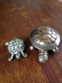 TWO BRASS TORTOISES