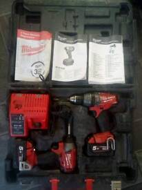 Milwaukee M18 fuel (5.0ah) drill and impact set.