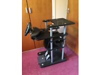 PS1 plus racing desk, steering wheel, pedals and games
