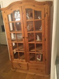 Scandinavian Pine Display Cabinet