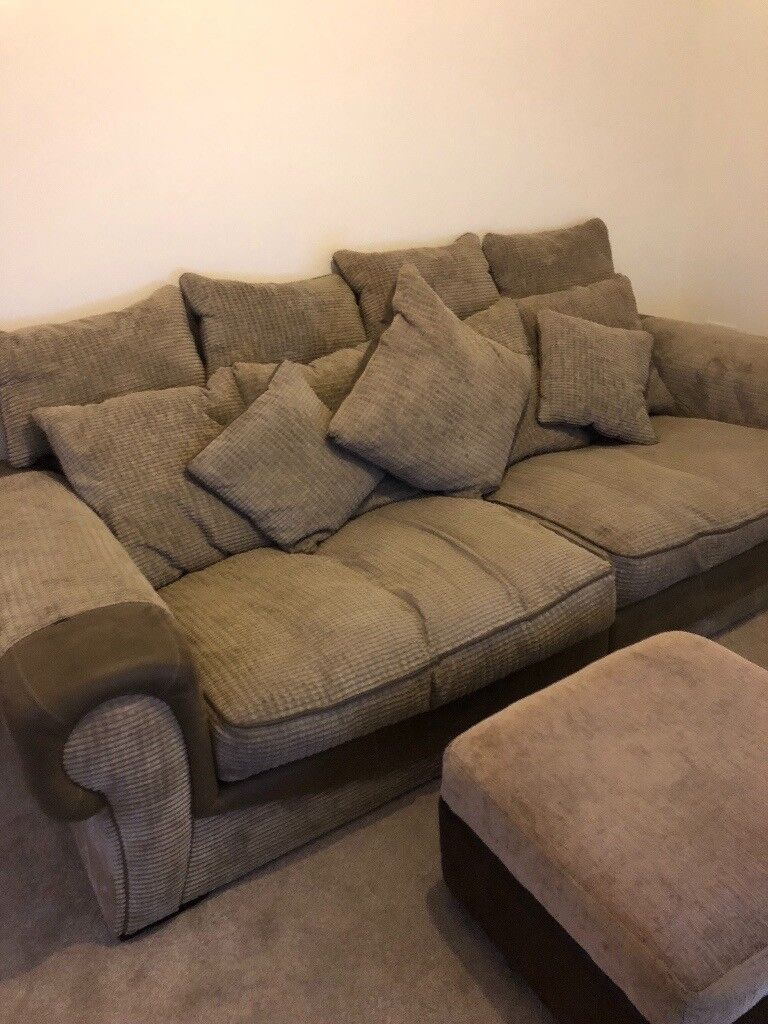 4 Seater Sofa And Footstool With Scotch Guard