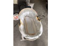 Clair de lune whales Moses basket with rocking stand, coverlet and 3 fitted sheets