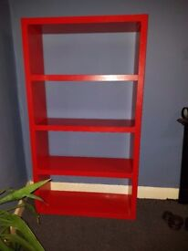 Red shelving unit