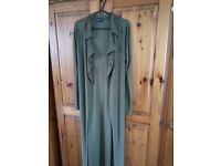 Long, light, slinky olive green light duster coat / overcoat, ladies size 6 UK