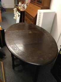 Antique drop leaf dinning room kitchen table dark wood