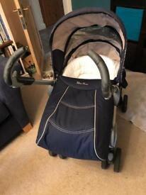 Silver Cross 3D pram pushchair car seat blue navy blue