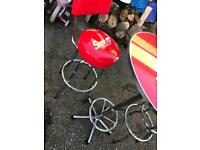 Snap on bar stools and table as new