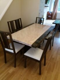 MARBLE DINING TABLE PLUS 6 CHAIRS AND MARBLE COFFEE TABLE