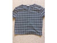 Black and white checked crop top