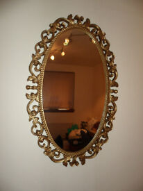 GOLD PAINTED FRAMED WOODEN OVAL MIRROR