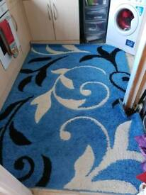 Blue and white and black rug
