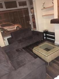 2 x 2 seater brown faux suede sofas