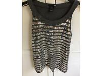 H&M silver sequin top size small