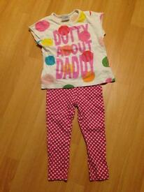 Next girls spotty T shirt 2-3yrs. Tu spotty pink and white leggings 18-24m