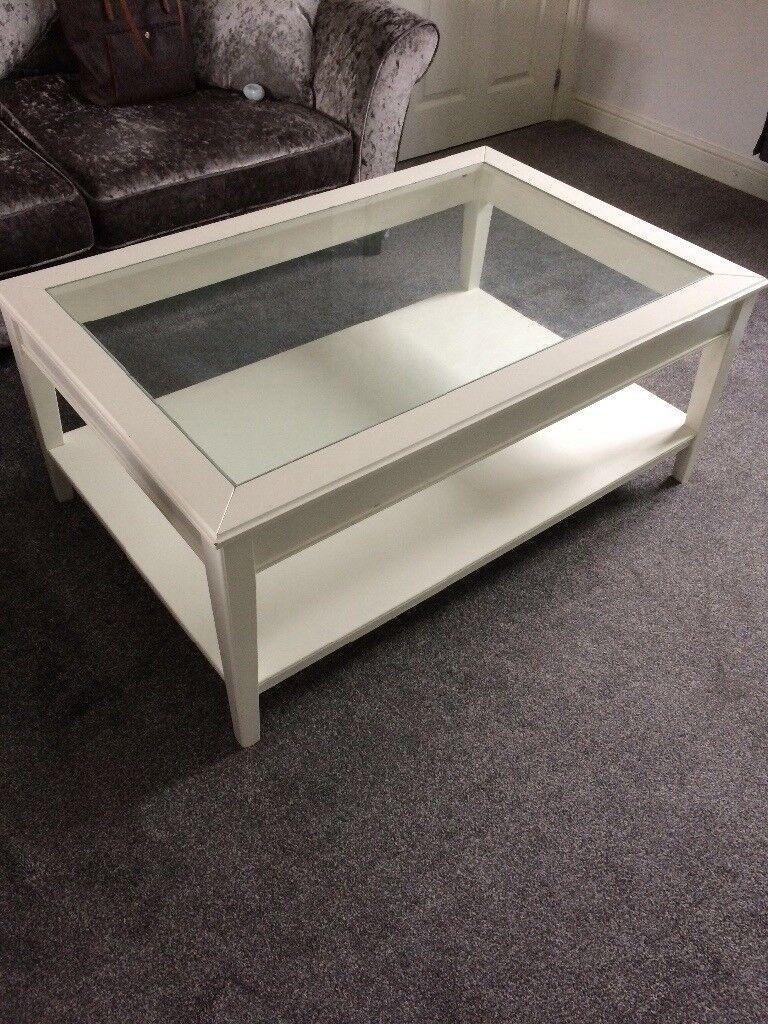 White Cream Glass Coffee Table 50