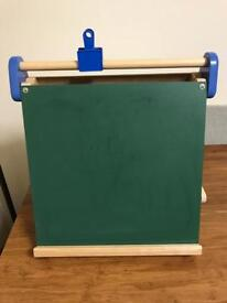 Pintoy Small Blackboard/Whiteboard with Paper Roll Holder and Bulldog Clip