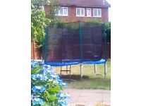 Trampoline with enclosure ladder and rain cover